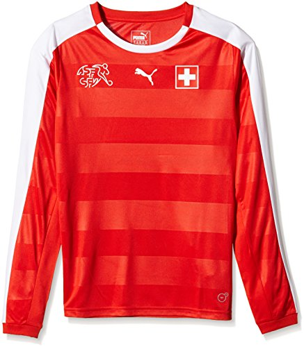 PUMA Damen Langarm Suisse Home Long Sleeve Shirt Red-White