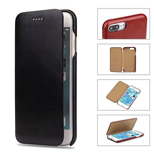iPhone 7 Plus Echtem Leder Hülle,Careynoce Luxus Handgefertigt Echtem Leder Flip Schutzhülle für Apple iPhone 7 Plus(5.5 Zoll) -- Rot M02