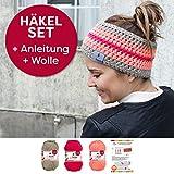 myboshi Häkelset für Stirnband Amami inkl. Wolle + Häkelanleitung in 3 Farben (Schlamm Rouge Kirsche)