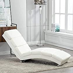 mecor Chaise Longue/méridienne Cuir 154 × 52.5 × 74 cm/Fauteuil Relaxant Moderne Blanc