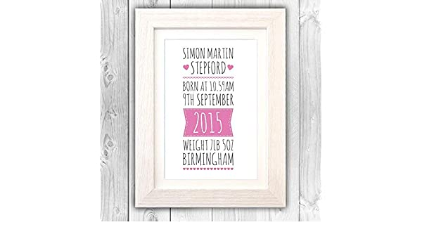 Personalised print naming day gift New baby gift christening gift VA099