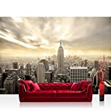 Vlies Fototapete 300x210 cm PREMIUM PLUS Wand Foto Tapete Wand Bild Vliestapete - MANHATTAN SKYLINE VIEW - New York USA Skyline Sephia Empire State Building - no. 037