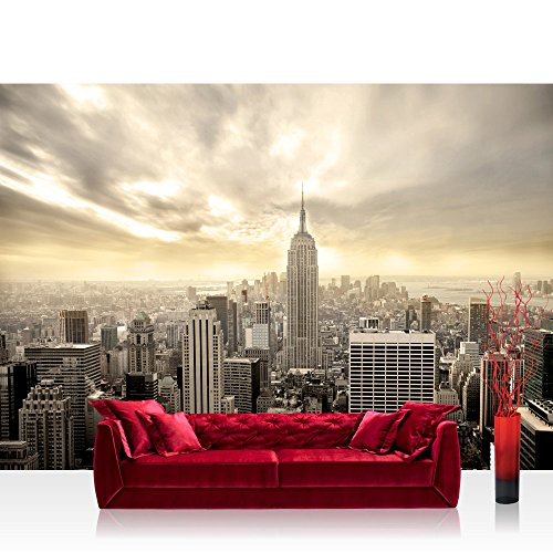Vlies Fototapete 350x245 cm PREMIUM PLUS Wand Foto Tapete Wand Bild Vliestapete - MANHATTAN SKYLINE VIEW - New York USA Skyline Sephia Empire State Building - no. 037