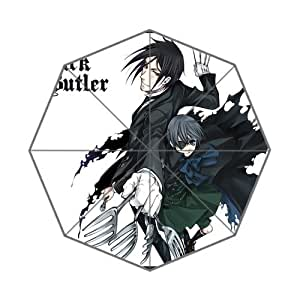 Classic Japanese Manga Series&Black Butler Background Triple Folding Umbrella!43.5 inch Wide!Perfect as Gift!