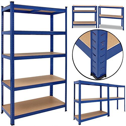 Lagerregal Kellerregal Steckregal Werkstattregal Schwerlastregal Werkbank BLAU (Blau Bücherregal)