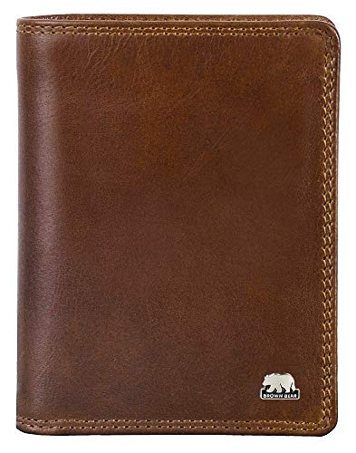 Brown Bear Geldbörse Hochformat Leder Braun RFID Schutz Tobacco Doppelnaht für Herren & Damen Geldbeutel Männer Portemonnaie Portmonaise Frauen Portmonee Ledergeldbeutel Ledergeldbörse -