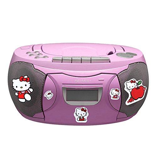 CD Player Stereo Radio Boxen Mädchen Kinder Zimmer Musik Anlage im Set inklusive Hello Kitty Sticker (Cd Hello Radio Kitty Player)