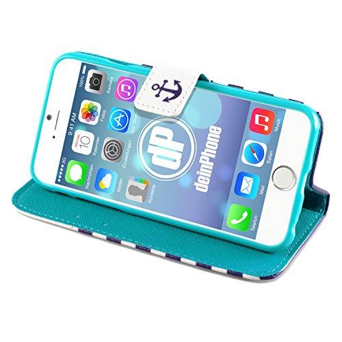 "deinPhone Apple iPhone 6 6S Plus (5.5"") KUNSTLEDER FLIP CASE Hülle Tasche Eulen Happy Family Marine Anker Blaue Streifen"