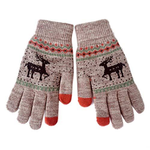 Nysunshien Magic 2 Touchscreen-Handschuhe, Weihnachten, Hirsch, Elch, Ethnisch, gestrickt, Handwärmer Khaki