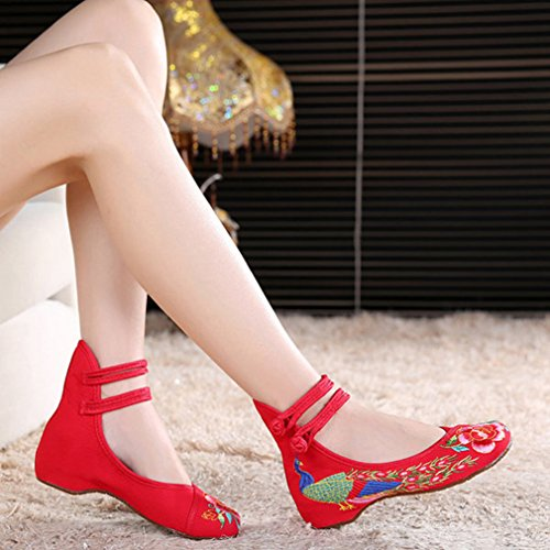 Minetom Donna Retro Fiore Ricamato Piatto Scarpe Cinese Mary Jane Basse Ballerine Espadrillas Pattini Dei Piselli Mocassini Rosso