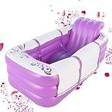 Faltbare aufblasbare Badewanne Erwachsenes Badefass Plastik Verdickung Warmhalten Kann sich setzen ( Color : Purple )