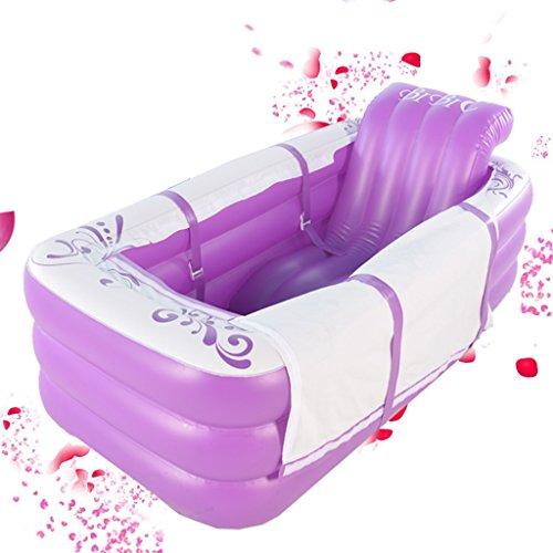Baignoire Gonflable Se Pliante Baril Adulte de Bain en Plastique Épaississant Garder au Chaud Peut s'asseoir Baignoires et sièges de Bain (Color : Purp