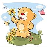 Topposter Poster für Kinderzimmer - Kleiner Teddy sammelt Blumen (Poster in Gr. 60x60cm)