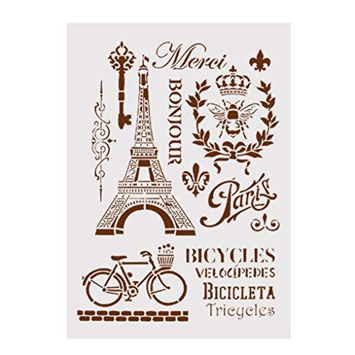 Bodbii DIY Turm Printing Mold Fahrradplastikkaffee Stamping Spray Stencil-Kuchen-Dekoration-Werkzeug