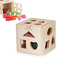 NimNik Wooden Shape Sorter Cube Toys - Classic Early Learning Toy for Toddlers Birthday Gifts