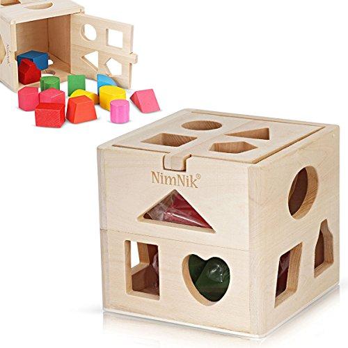 Hölzerne Form Sortierwürfel Klassische quadratische Form Sorter Baby erste Blöcke Formensortierung Spielzeug für frühes Lernen für 3-Jährige von NimNik