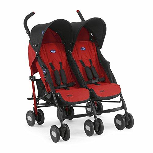 Chicco Echo Twin - Silla de paseo gemelar (13,4 kg, homologada desde 0m, color rojo (Garnet)