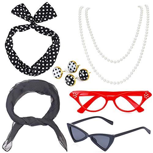 Kostüm Rockabilly 50's - Beelittle 50's Damen Kostüm Accessoires Set Chiffon Schal Polka Dot Bandana Krawatte Stirnband Ohrringe Retro Cat Eye Eglasses Perlenkette (Schwarz)