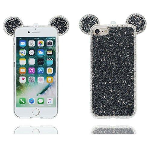 "Hülle iPhone 6, [ TPU Flexible Langlebige Bling Diamonds Pink Cute Ohr] iPhone 6S Handyhülle Cover (4.7 zoll), iPhone 6 Case Shell (4.7"") Anti-Beulen - 3D Maus Ohr Cartoon Mouse ear # 1"