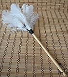 Straußenstaubwedel weiß Flügel-Federn mit Holzstiel Gesamtlänge 75 cm - Zuluduka