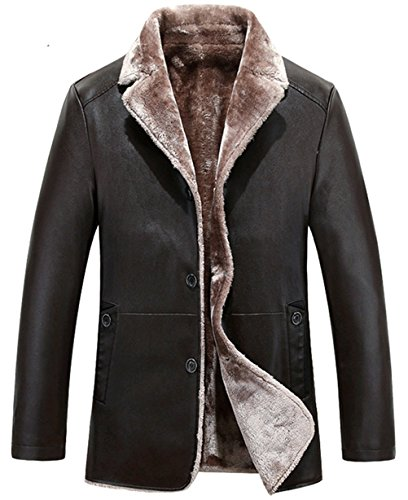 WS668 Winter Mode Herren Leder Faux Pelz Gezeichnet Gefüttert Warm Jacke Mäntel Dunkelbraun