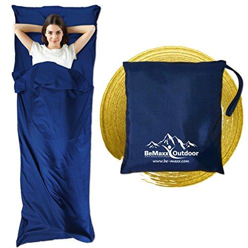 Sacco a pelo in microfibra di bemaxx outdoor + sezione per cuscino – per attività in montagna, gite, viaggiare | leggero, igienico, versatile e pratico | fodera resistente per donne, uomini, bambini