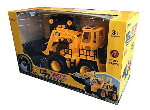 RC Auto kaufen Spielzeug Bild 3: Top Race 5 Kanal voll funktionsfähiger Frontlader, Elektro RC Fernsteuerung BauTraktor TR-113 (mit Licht & Sounds), Gelb*