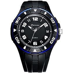 Unisex 30M Waterproof Night Light Simple Style PU Leather Strap Quartz Wrist Watch(Blue)