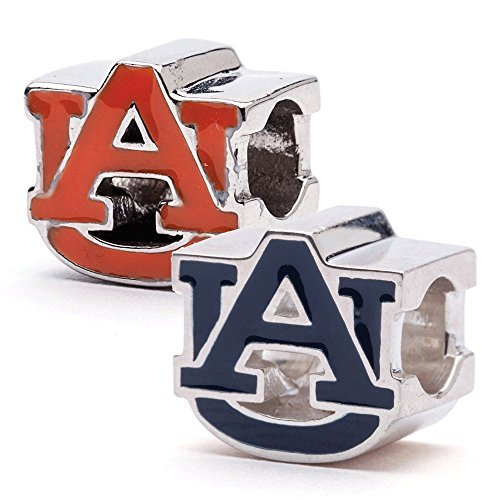 Auburn Tigers AU Logo Bead Charms-Set 2Stück (orange und blau)-passend für Pandora und andere -