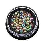Haodou Joyería de Uñas 4CM Pequeña Perla Gradiente en Caja Negra + Anillo de Piedras Preciosas + Pequeña Bola de Acero 6 Colores Opcional Accesorio Clavo Manicura