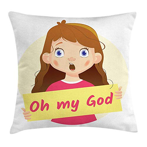Quote Throw Pillow Cushion Cover, Cartoon Style Little Girl with a Surprised Shocked Face Expression Holding a Quote, Decorative Square Accent Pillow Case, 18 X 18 Inches, Multicolor