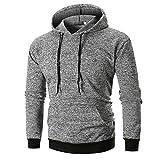 UFACE Herren 3D Print Langarm Hoodie Pullover Top Langarm Bedrucktes Hoodie Kapuzen Sweatshirt Top T Outwear Bluse(Grau,2XL
