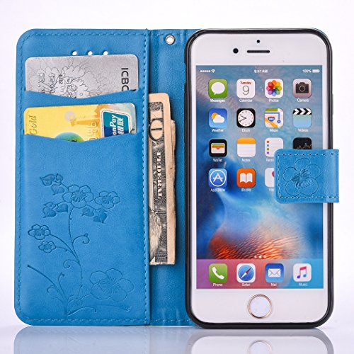 """iPhone 6S plus Wallet Case, Felfy Grün Slim Flip Folio Bookstyle Schutzhülle Case Cover für Apple iPhone 6 / 6S plus 5.5"""" Unique Baum Blatt Magnetverschluss Stil Standfunktion Kartenfach mit Abnehmbar Blume Blau"""
