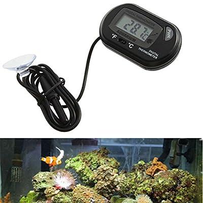ueetek Aquarium Thermometer Aquarium, Das Thermometer LCD Digital mit Saugnapf für Teich Marine (schwarz)–2Stück