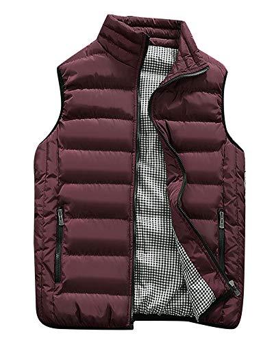 Uomo inverno tinta unita leggero casual giubbino senza maniche giacca piuma vestiti panciotto smanicato caldo gilet cappotto vino rosso xxl