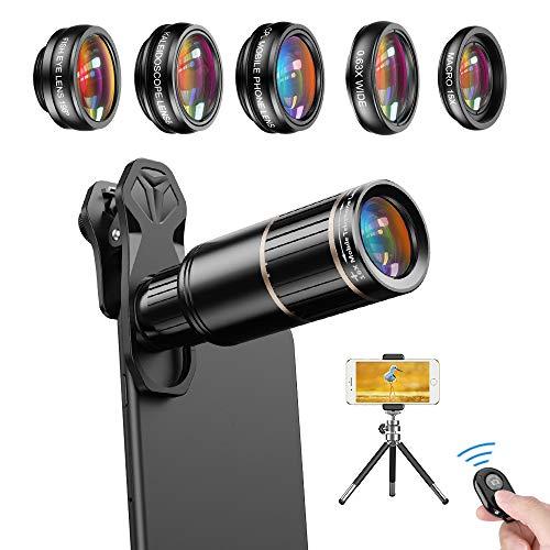 APEXEL 6 in 1 Handy Kamera Objektiv Kit,16X-Teleobjektiv+198°Fisheye-Objektiv+0,63X-Weitwinkel&15X-Makroobjektiv+Kaleidoskop+CPL  mit ausziehbarem Stativ für iPhone Samsung und die meisten Smartphone