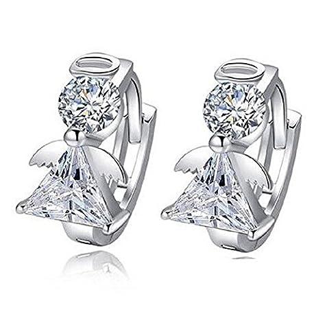 Sterling Silver Plated Small Sweet Sleeper Angel Crystal Hoop Earrings