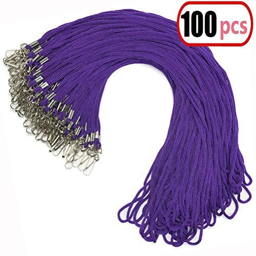 Baumwoll-haken (100Violett Schlüsselband Bulk Clip Swivel Haken 52cm Baumwolle Hals gewebtes Abzeichen Lanyards mit Clips Violett Lanyards für ID Abzeichen (lila))