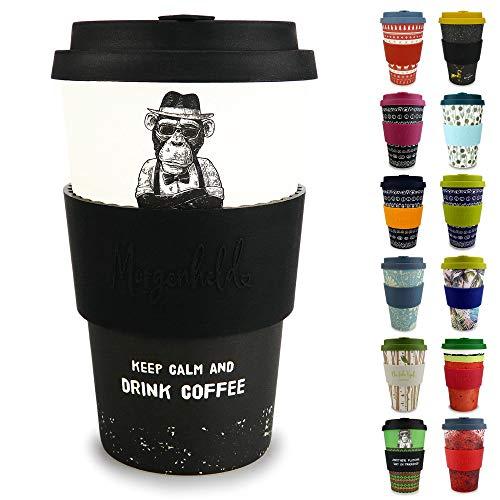 Morgenheld Dein trendiger Bambusbecher | Coffee-to-Go-Becher | Kaffeebecher mit Silikondeckel und Banderole in coolem Design 400 ml Füllmenge (Monkey)