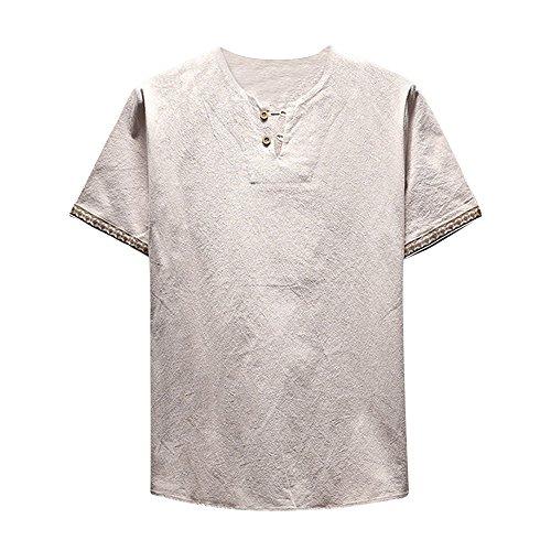 UFACE Herren Langarm Shirt, Einfarbig Slim Fit Poloshirt, T-Shirts aus Leinen und Baumwoll, Stehkragen Hemd Oberteile Pullover - Jasmin-baumwoll-leinen