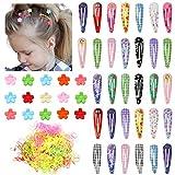 Howaf Haarspangen mädchen Kinder, Bunt haarklammer mädchen Mini Blume Haarkrallen und elastische haargummi für Babys Mädchen Kleinkinder