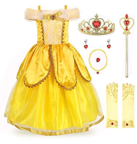 EUSupermarket Mädchen Prinzessin Kostüm Belle Kostüm Kinderkleider Mädchen Tutu Kleid PartyKostüm Deluxe Party Fancy Dress Up mit Zubehör YellowOne 7 Years