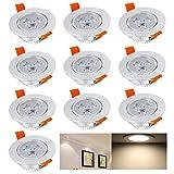 Hengda® Einbaustrahler 10er pack 3W LED Warmweiß Deckenstrahler Spot Lampe Treppe Küchen Decke Einbau Spots Strahler mit Travo Einbauleuchten IP44