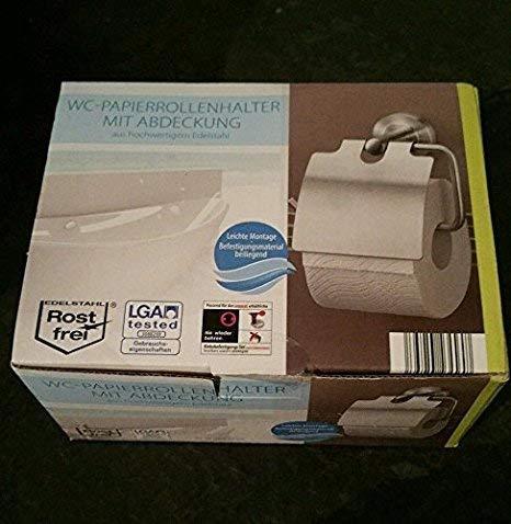 Ovibell Edelstahl Toilettenpapierhalter mit Deckel Montage nie wieder bohren Klebeset möglich