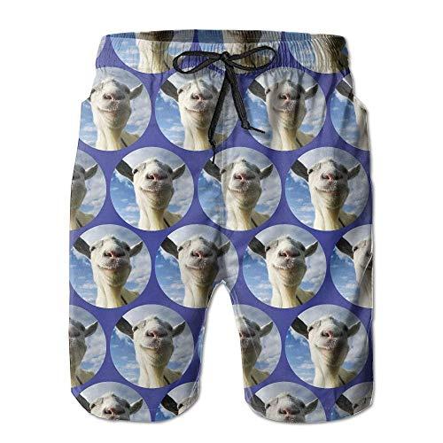 Men's Funny Goat Bule Sky Quick-Dry Summer Beach Surfing Board Shorts Swim Trunks Cargo Shorts,XL