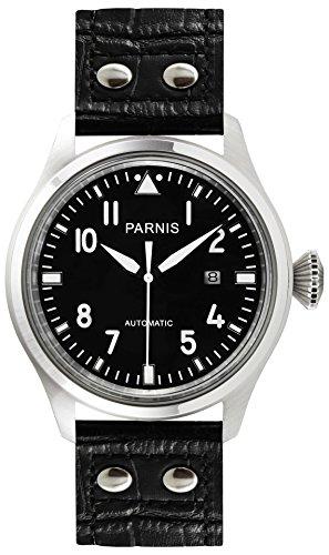 PARNIS 9034 sportliche Edelstahl-Automatik-Uhr 5BAR Wasserdicht Fliegeruhr 47mm Mineralglas Herren-Uhr Seagull Markenuhrwerk Kaliber ST25 Pilot-Uhr