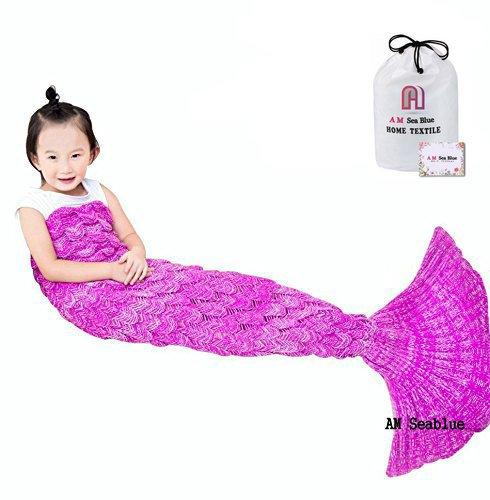 Kinder Meerjungfrauen schwanz Decke, Meerjungfrauen Schlafsack, handgefertigt, für alle Jahreszeiten, 140 x 70 cm