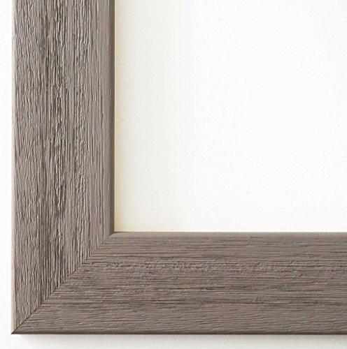 Bilderrahmen Florenz Grau 4,0 - Über 100 Größen - 4 Ausstattungsvarianten - Leerrahmen ohne Glas mit Aufhänger - 60 x 90 cm - Modern - Uv-glas-bilderrahmen