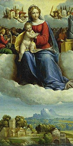 Artland Qualitätsbilder I Poster Kunstdruck Bilder 50 x 100 cm Mythologie Religion Malerei Bunt A2VH Madonna Kind Engel Waldl Landschaft