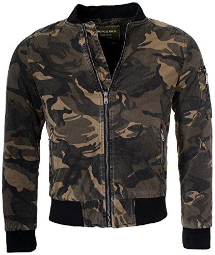 Young & Rich Herren Bomberjacke Fliegerjacke Übergangsjacke camouflage Optik Tarnmuster Look JK-451 Slimfit Übergang Jacke